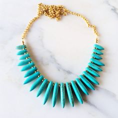 Turquoise Statement Necklace - Turquoise spikes warrior necklace
