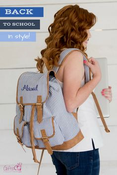 """Personalized item - custom embroidery with name or monogram included - 12"""" L x 5"""" W x 14"""" H - Seersucker material with leather-like trim - Inside lining - Drawstring and magnetic snap closure - Adjust"""