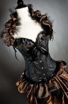 Image detail for -Black and Gold Brocade Burlesque Corset Dress Corset Costumes, Dance Costumes, Steampunk Fashion, Gothic Fashion, Steampunk Corset, Burlesque Corset, Gold Corset, Sexy Korsett, Fasion