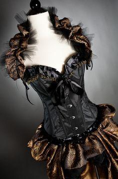 Black and Gold Burlesque Corset Dress | My Corset Dress Blog