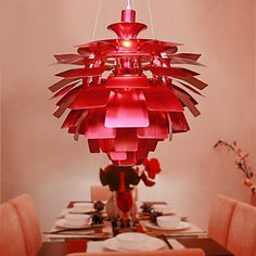 Red Pendant Light in Artistic Floral Lampshade – light for apartments