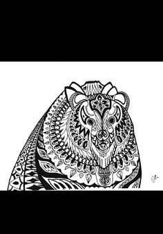 Pen & Ink drawing of a bear by SomeCatchyName on Etsy