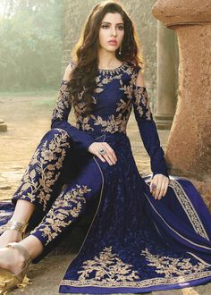 Eye-Catchy Blue And Beige Designer Anarkali Suit. Pakistani Dresses, Indian Dresses, Indian Outfits, Abaya Fashion, Indian Fashion, Fashion Dresses, Stylish Dresses, Designer Party Wear Dresses, Dress Indian Style