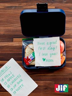 Show your kids some lunch or snack love on the first day back to school by leaving them a special note with a tasty PB&J sandwich and Jif®️️️ Bar.