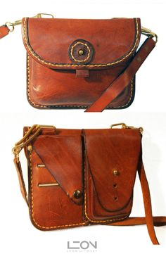Leather Small Bag with separate compartments on the back for credit cards and smart phone. By Leon Litinsky.