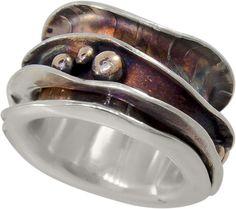 Items similar to Spinner Ring, Worry Ring, Fidget Ring, Meditation Ring on Etsy Rock Jewelry, Metal Jewelry, Jewelry Rings, Ring Ring, Ethiopian Opal Ring, Meditation Rings, Spinner Rings, Engraved Necklace, Boho Rings
