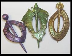 Polymer Clay Shawl Pins by ~KabiDesigns on deviantART