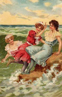 Bathing beauties postcard, 1907
