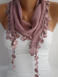 Women   Shawl / Scarf - Headband - Cowl with Lace Edge-Summer Trends. $13.50, via Etsy.
