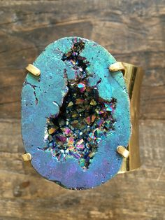 "Genuine titanium geode druzy set on 24k gold plated brass cuff. Named after our mega babe & bachelorette Joelle "" JoJo "" Fletcher who rocked the Bachelor 2016 and just announced as the Bachelorette. Y"
