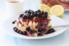 Lemon Ricotta Pancakes with Blueberry Sauce by twopeasandtheirpod #Pancakes #Lemon #Ricotta #Blueberry