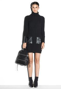 slim rib leather pocket dress #blackandwhite #millyny