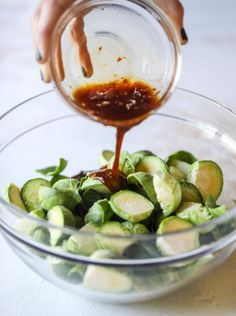 These sweet and spicy brussels sprouts are roasted to perfect and the most delicious side dish! It& a great way to elevate regular old brussels sprouts and make a fantastic side to to serve on a weeknight! Side Dish Recipes, Vegetable Recipes, Gourmet Recipes, Cooking Recipes, Healthy Recipes, Beef Recipes, Easy Recipes, Dinner Recipes, Clean Eating
