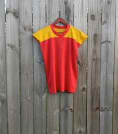 Vintage Red Yellow Sporty BIG HUGE Armholes by PinkCheetahVintage, $16.99