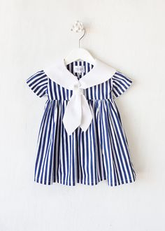 Baby Girl Dress Navy Stripes with white collar by BBELLECOUTURE, $46.50