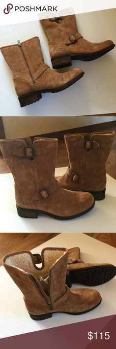 """🌨❄️☃ NEW UGG AUSTRALIA SUEDE BOOTS 🌨❄️☃ Brand new UGG Australia suede boots with side zipper and UGGPure inside lining is 100% wool and super warm. Buckle strap detail, UGG logo at heel, 8""""shaft, 13"""" circumference and 1.25"""" heel. The lugged Rubber soles will grip on icy surfaces and water-resistant uppers. Size 9.5 UGG Shoes"""