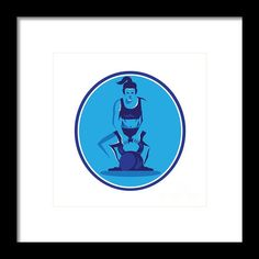 Female Trainer Lifting Kettleball Circle Retro Framed Print By Aloysius Patrimonio Illustration of a female trainer athlete weightlifter lifting kettlebell with both hands viewed from front set inside circle on isolated background done in retro style. #illustration #FemaleTrainer