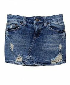 Washed Distressed Mini Skirts in Denim
