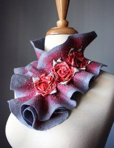 Gallery - Hand Felted scarves and wraps, hand knitted and hand crocheted scarves, luxurious silk scarves, linen scarves, beautiful evening accessories.