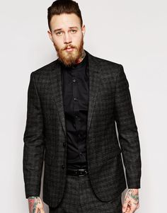 ASOS Skinny Fit Suit Jacket In Textured Cloth