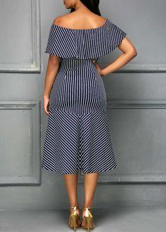 De la robe ceinturée à rayures à l'épaule | Rosewe.com - USD $ 32.62