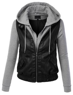 Lock and Love Womens Faux Leather Zip Up Moto Biker Jacket With Hoodie S BLACK