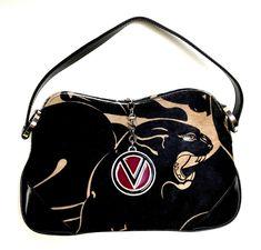 VALENTINO Black/Taupe Calf-Hair Jeweled Rings & Logo Closure Fob Small Hobo Bag