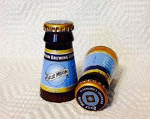 Upcycled Beer Bottle Shot Glasses. Blue Moon. Recycled Glass Bottles. Man Cave. For Him. Groomsmen Gift.