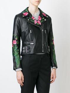 Christopher Kane floral embroidered biker jacket