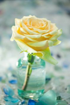 A yellow rose in a simple glass vase adds warmth and optimism to any bedside table.