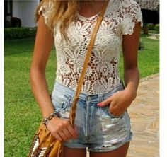 Laced shirt + high waisted shorts