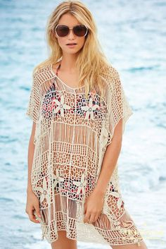 92cd43412a Sexy Womens Floral Hallow Crochet Cover up Beachwear Bikini Swimsuit Blouse  Top