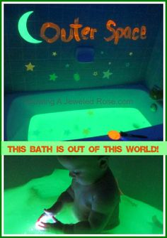GLOWING Outer Space Themed Bath.  So fun for the kids!