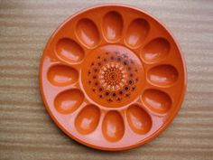 Vintage Retro ORANGE MELAMINE DEVILLED EGG TRAY