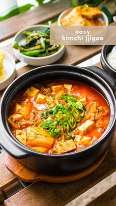 Soup Recipes, Vegetarian Recipes, Cooking Recipes, Healthy Recipes, Quick Food Recipes, Easy Korean Recipes, Asian Recipes, Japanese Recipes, Kimchi Jigae Recipe