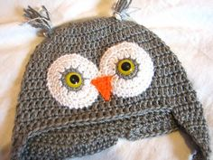Childs Grey OWL HAT super cute with Free Gift | REbeccasNeedleArtistry - Crochet on ArtFire