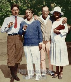 Igor Stravinsky with Cocteau and Picasso in Antibes 1926 from l to r . Jean Cocteau , Pablo Picasso , Igor Stravinsky & Olga Picasso . Associated with the Ballet Russe de Diaghilev . Colourised version . stock photo