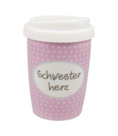 Coffee to Go Becher klein SCHWESTERHERZ von Mea-Living Reisebecher Porzellanbecher CTK-007  - 2-flowerpower
