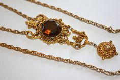 Vintage Necklace Topaz Rhinestone Pendant Statement by patwatty, $15.00