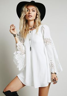 Shop White Long Sleeve With Lace Dress online. Sheinside offers White Long Sleeve With Lace Dress & more to fit your fashionable needs. Free Shipping Worldwide!