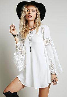 Kleid Langarm mit Netzspitze-weiß 17.47