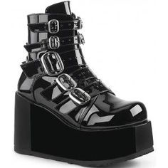 Buckled Concord Platform Ankle Boot - New at GothicPlus.com - your source for gothic clothing jewelry shoes boots and home decor.  #gothic #fashion #steampunk