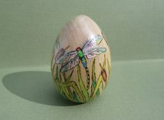 dragonfly Easter egg wood easter egg decorated by ADragonflysFancy