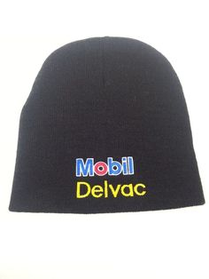 72dc6f30d21 Mobil Delvac Beanie Cap Diesel Motor Engines Oil Gas Embroidered Winter Hat   Beanie