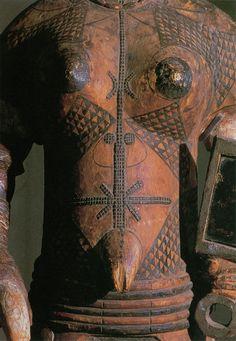"""ukpuru: """" """" Detail of female figure, Ugo na cho mma (""""The eagle seeks out beauty""""). Igbo, Nigeria. Wood, plastic, glass, uli dye(?); height of full figure 127cm (50""""). Seattle Art Museum, Katherine..."""