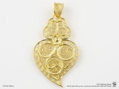 Portuguese Filigree PENDANT Viana Heart (4.5cm) Traditional in 925 Sterling Silver w/ 24k Gold Bath by NadirFiligree on Etsy