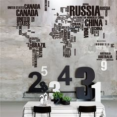 Letters World Map Wall Stickers Living Room Home Decorations Creative Pvc Decal Mural Artdiy Office Wall Art