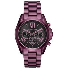Women's Michael Michael Kors 'Bradshaw' Chronograph Bracelet Watch,... ($250) ❤ liked on Polyvore featuring jewelry, watches, chrono watch, roman numeral jewelry, chronograph watches, chronograph wrist watch and roman numeral watches