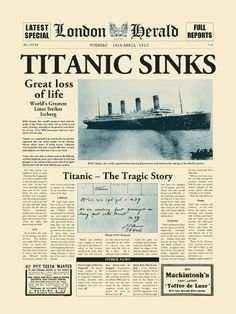 Titanic Sinks Art Print by The Vintage C World History Projects, World History Facts, World History Classroom, Ancient World History, Titanic History, World History Lessons, Art History, History Memes, History Photos