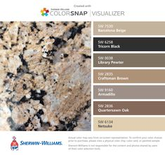 I found these colors with ColorSnap® Visualizer for iPhone by Sherwin-Williams: Barcelona Beige (SW 7530), Tricorn Black (SW 6258), Library Pewter (SW 0038), Craftsman Brown (SW 2835), Armadillo (SW 9160), Quartersawn Oak (SW 2836), Netsuke (SW 6134).